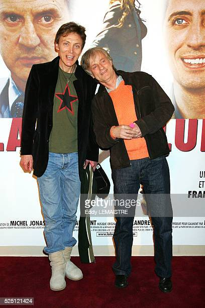 Singer Dave and his partner Patrick Loiseau attend the premiere of La Doublure in Paris