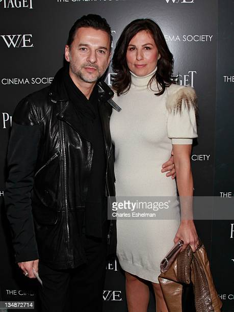 Singer Dave Gahan and actress Jennifer SkliasGahan attend The Cinema Society Piaget screening of WE at The Museum of Modern Art on December 4 2011 in...