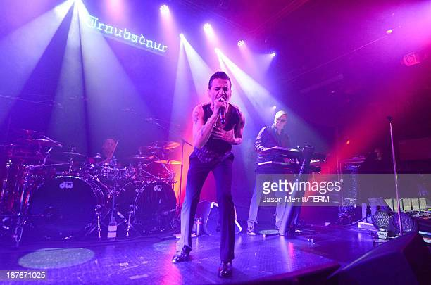 Singer Dave Gahan and keyboardist Andy Fletcher of Depeche Mode perform at KROQ presents Depeche Mode at The Troubadour on April 26 2013 in West...