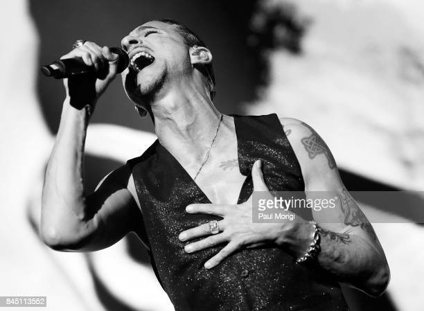 Singer Dave Gahan of Depeche Mode performs during the Global Spirit Tour at Madison Square Garden on September 9 2017 in New York City