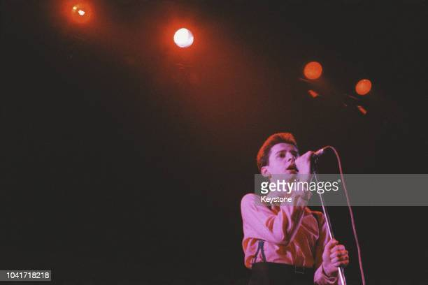 Singer Dave Gahan of electronic band Depeche Mode performs at the Lyceum near the Strand in London, UK, 1981.