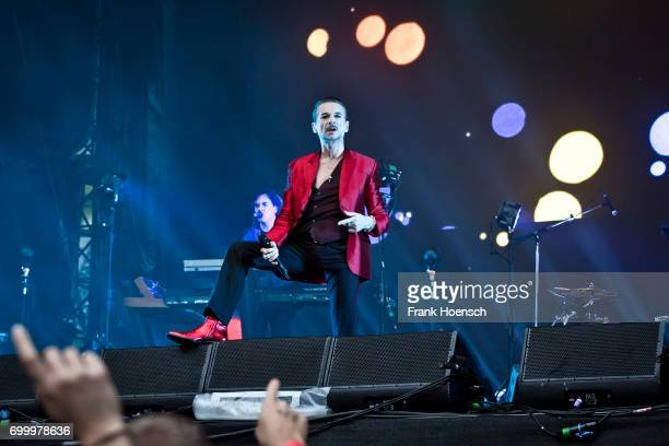 Singer Dave Gahan of the British band Depeche Mode performs live on stage during a concert at the Olympiastadion on June 22 2017 in Berlin Germany