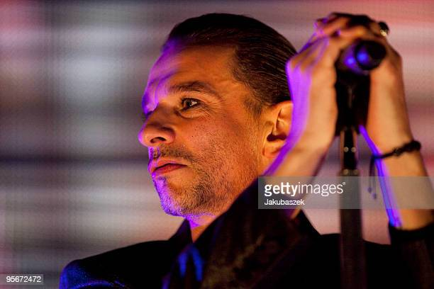 Singer Dave Gahan of the British pop band Depeche Mode performs live during a concert at the O2 World on January 09 2009 in Berlin Germany The...