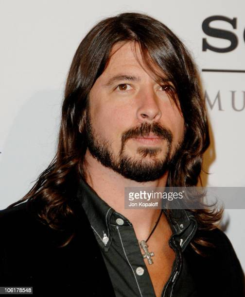 Singer Dave Grohl arrives to the Clive Davis PreGrammy Party at the Beverly Hilton Hotel on February 9 2008 in Beverly Hills California