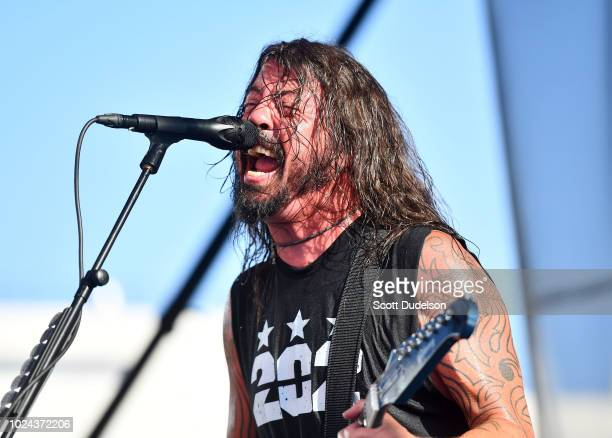 Singer Dave Grohl of the band Foo Fighters performs onstage during the Cal Jam 18 Pop Up concert at Hollywood Palladium on August 26, 2018 in Los...