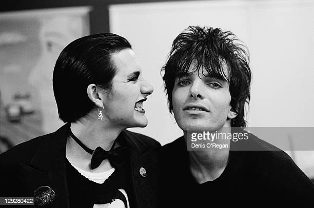 Singer Dave Vanian and guitarist Brian James of English punk group The Damned Finchley London 1976