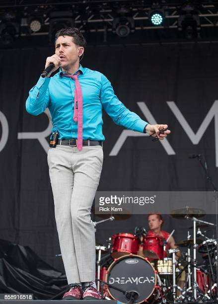 Singer Davey Havok and drummer Adrian Young of Dreamcar perform onstage during weekend one day two of Austin City Limits Music Festival at Zilker...