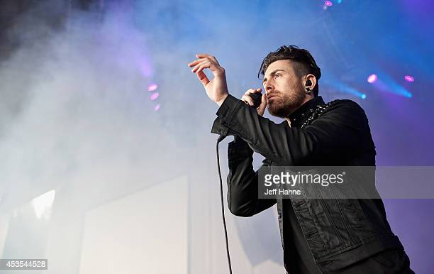 Singer Davey Havok of AFI performs at the PNC Music Pavilion on August 12 2014 in Charlotte North Carolina