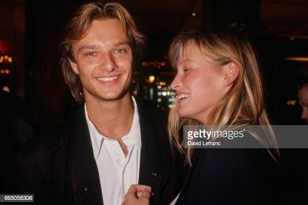 Singer David and his wife Estelle Hallyday at a Claude Petin gala evening at Fouquet's