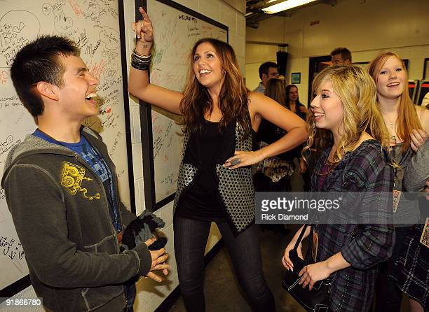 Singer David Archuleta Hillary Scott of Lady Antebellum and actress Jennette McCurdy attend the We're All For The Hall benefit concert for the...