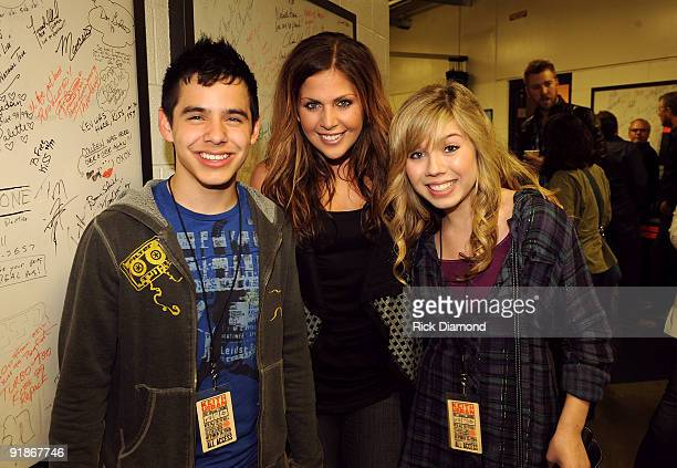 Singer David Archuleta singer Hillary Scott of Lady Antebellum and actress Jennette McCurdy attend the We're All For The Hall benefit concert for the...