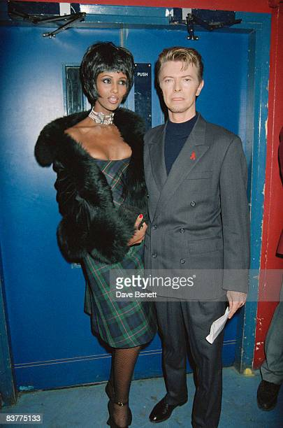 Singer David Bowie and his girlfriend fashion model Iman at the World Aids Day concert 'Symphony of Hope' 1st December 1993