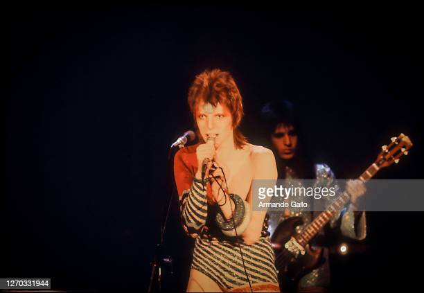 Singer David Bowie performing Live Ziggy Stardust tour in 1972.