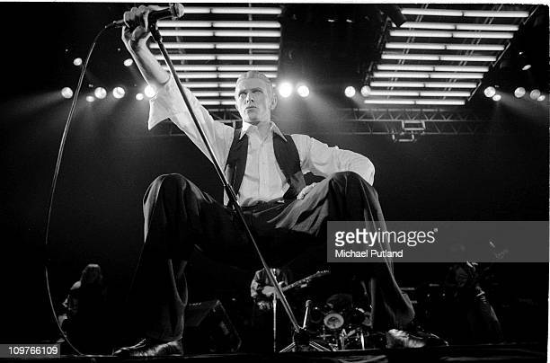 Singer David Bowie performing on stage as the Thin White Duke on his Station To Station World Tour at the Wembley Empire Pool in London England in...