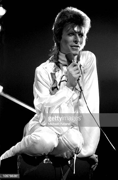 Singer David Bowie performing on stage at Earl's Court in London England during the Ziggy Stardust tour on May 12 1973
