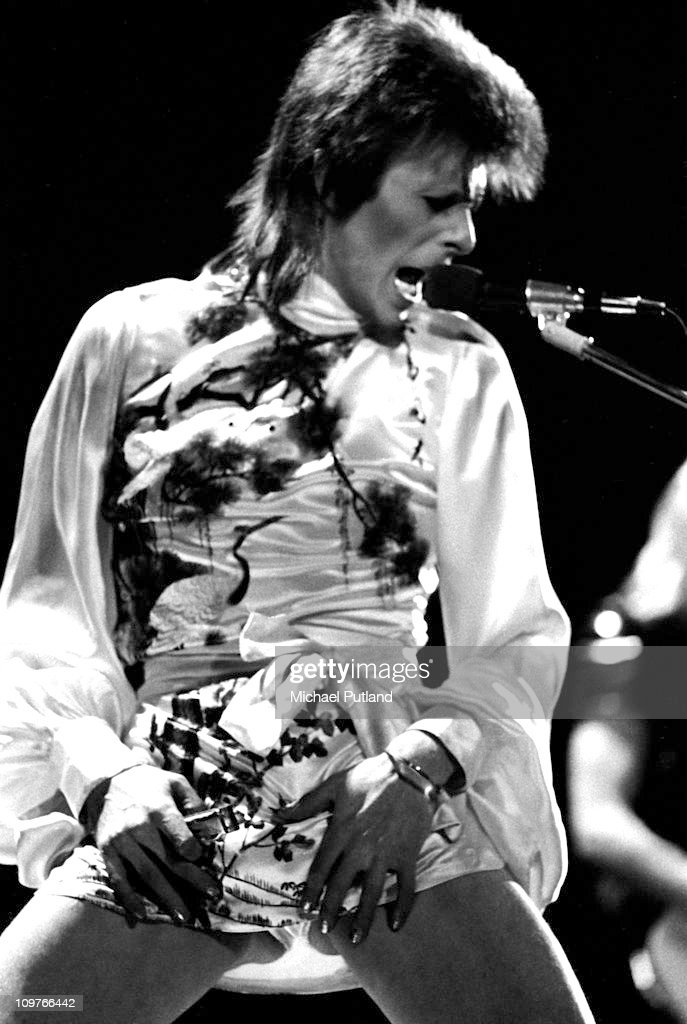 Singer David Bowie (1947 - 2016) performing on stage at Earl's Court in London, England during the Ziggy Stardust tour on May 12, 1973.