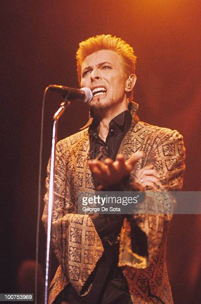 Singer David Bowie performs on stage during his 50th birthday benefit concert held at Madison Square Garden in New York City on January 09 1997