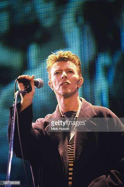 Singer David Bowie performs on stage during the Outside tour in November 1995