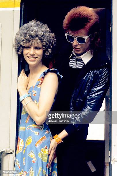 Singer David Bowie with his wife Angie Bowie on January 01 1974 in London England David Bowie died on January 10 2016 and Angie Bowie who divorced...