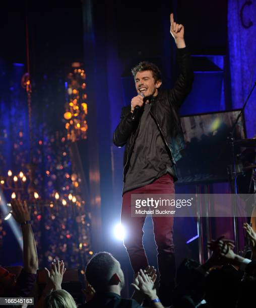 Singer David Boyd of New Politics performs onstage during the 2013 NewNowNext Awards at The Fonda Theatre on April 13 2013 in Los Angeles California