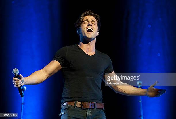 Singer David Bustamante performs during a concert at the Lope de Vega Theatre on April 19 2010 in Madrid Spain