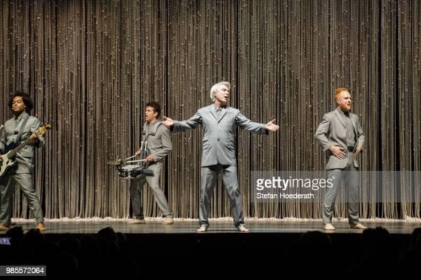 Singer David Byrne performs live on stage during a concert at Tempodrom on June 27 2018 in Berlin Germany