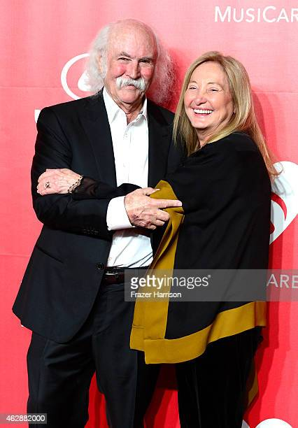 Singer David Crosby and Jan Dance attend the 25th anniversary MusiCares 2015 Person Of The Year Gala honoring Bob Dylan at the Los Angeles Convention...