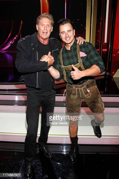 """Singer David Hasselhoff and Andreas Gabalier at the charity gala """"Willkommen bei Carmen Nebel"""" at TUI Arena on September 14, 2019 in Hanover, Germany."""