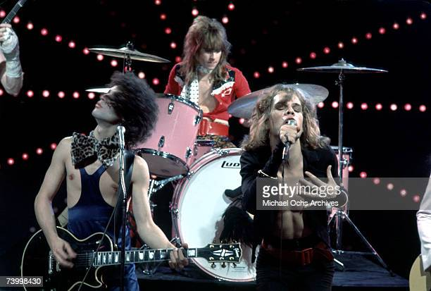 Singer David Johansen drummer Jerry Nolan and guitarist Sylvain Sylvain of the rock and roll group 'The New York Dolls' pose for a portrait with host...