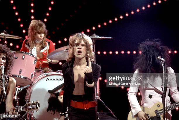 Singer David Johansen guitarist Johnny Thunders drummer Jerry Nolan and guitarist Sylvain Sylvain of the rock and roll group 'The New York Dolls'...