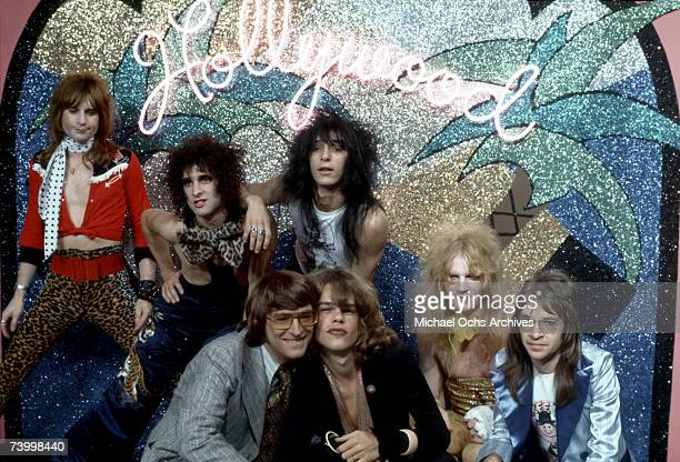 Singer David Johansen guitarist Johnny Thunders drummer Jerry Nolan bassist Arthur Kane and musician Sylvain Sylvain of the rock and roll group The...
