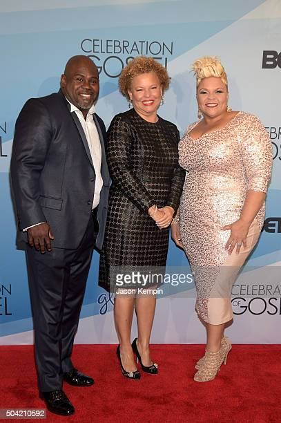 Singer David Mann BET CEO Debra L Lee and singer Tamela Mann attend BET Celebration Of Gospel 2016 at Orpheum Theatre on January 9 2016 in Los...