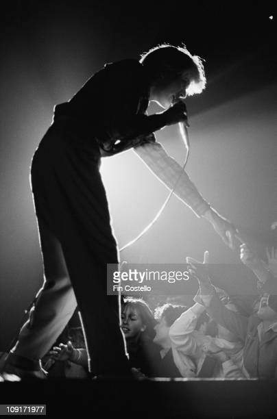 singer David Sylvian from Japan performs live on stage at Hammersmith Odeon in London in February 1981