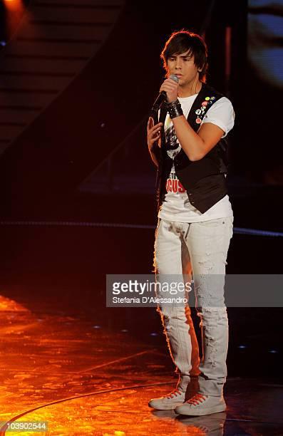 Singer Davide Mogavero performs during X Factor Italian Tv Show held at Rai Studios on September 7 2010 in Milan Italy