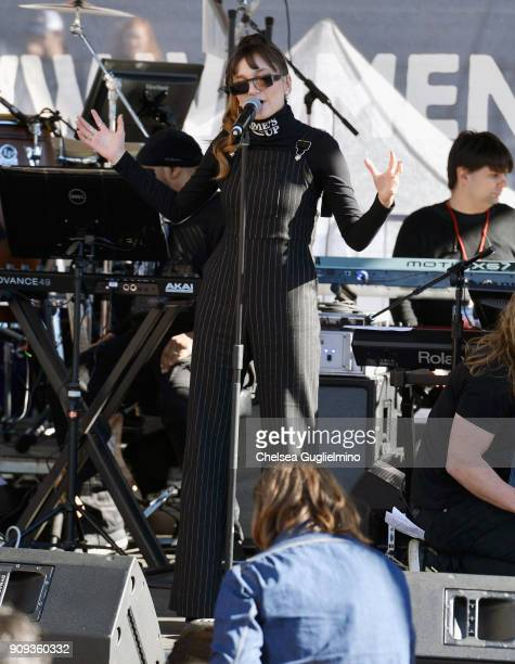 Singer Daya performs during the Women's March Los Angeles 2018 on January 20 2018 in Los Angeles California