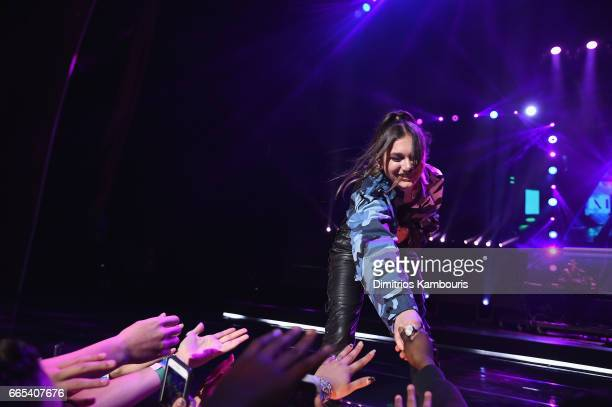 Singer Daya performs on stage during WE Day New York Welcome to celebrate young people changing the world at Radio City Music Hall on April 6 2017 in...