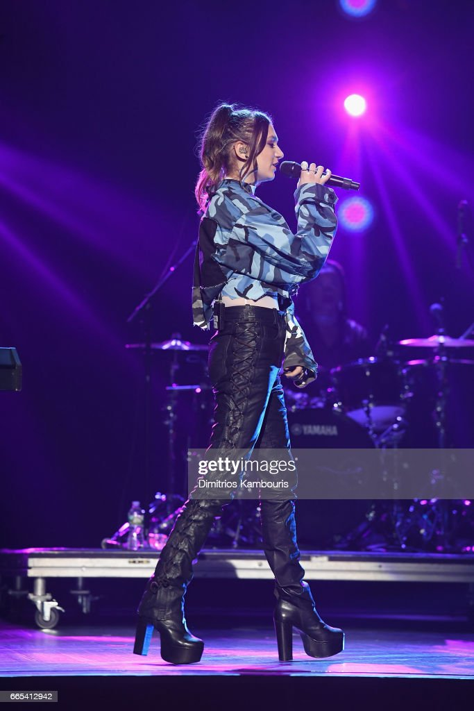 Singer Daya performs on stage during WE Day New York Welcome to celebrate young people changing the world at Radio City Music Hall on April 6, 2017 in New York City.