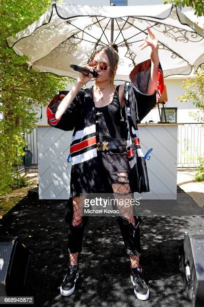 Singer Daya performs onstage at the POPSUGAR Cabana Club Pool Party at Colony Palms Hotel on April 15 2017 in Palm Springs California