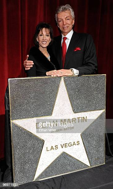Singer Deana Martin daughter of Dean Martin and her husband John Griffeth appear during a Las Vegas Walk of Stars dedication ceremony for...