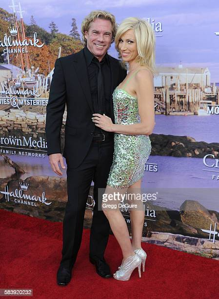 Singer Debbie Gibson and Rutledge Taylor arrive at the Hallmark Channel and Hallmark Movies and Mysteries Summer 2016 TCA Press Tour Event on July...