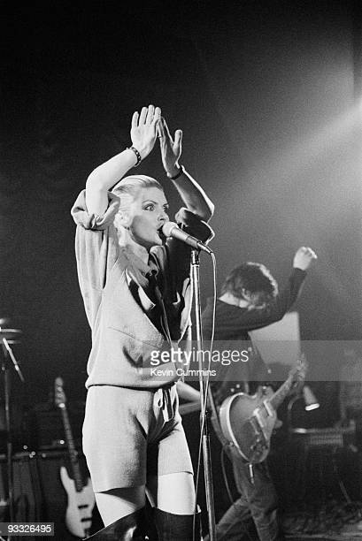 Singer Debbie Harry and guitarist Chris Stein of American band Blondie perform on stage at King George's Hall in Blackburn on February 23 1978
