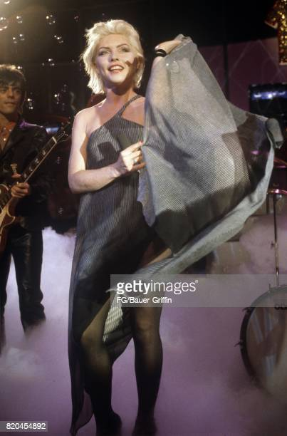 GERMANY FEBRUARY 21 Singer Debbie Harry and her band Blondie at rehearsals for a TV show at Bavaria Film on February 21 1978 in Munich West Germany...