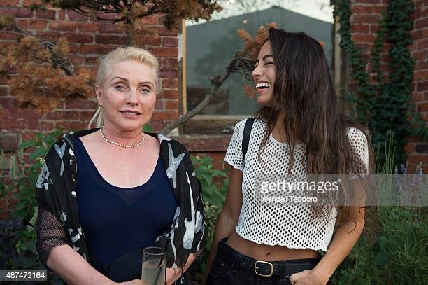 Singer Debbie Harry and Kristi Garced attend the Rachel Comey show at Pioneer Works on September 9 2015 in the Brooklyn borough of New York City