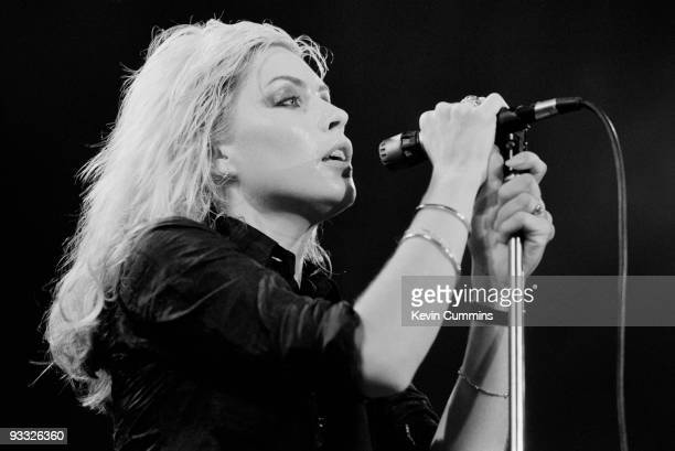 Singer Debbie Harry of American band Blondie performs on stage at the Free Trade Hall in Manchester on September 14 1978