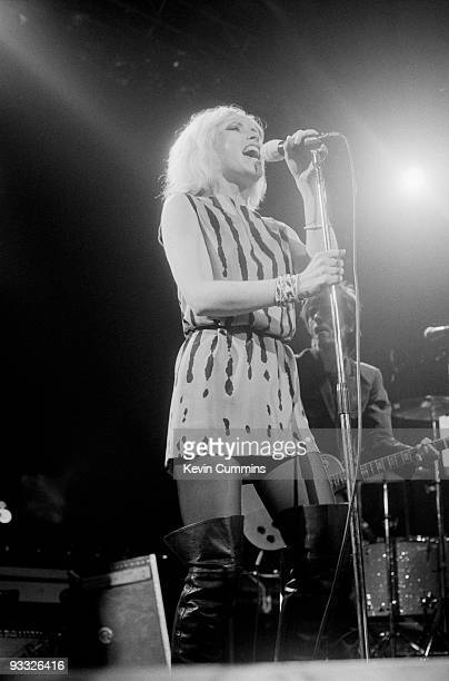 Singer Debbie Harry of American band Blondie performs on stage at the Free Trade Hall in Manchester on December 28 1979