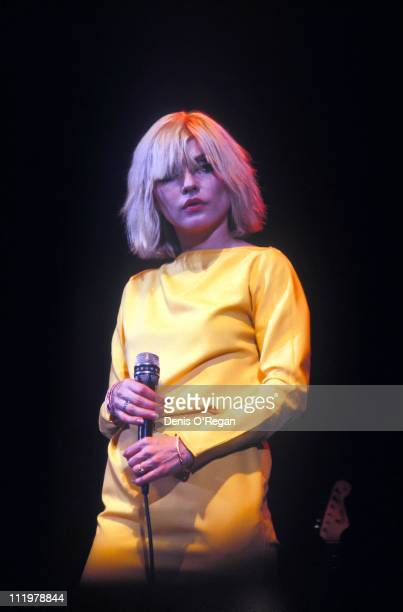 Singer Debbie Harry of Blondie performs at Hammersmith Odeon in London 1980