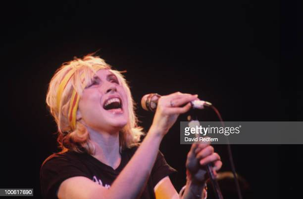 Singer Debbie Harry of Blondie performs on stage at the Hammersmith Odeon in London England in January 1980