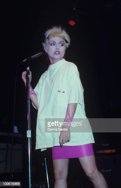Singer Debbie Harry of Blondie performs on stage in Los Angeles California in 1977