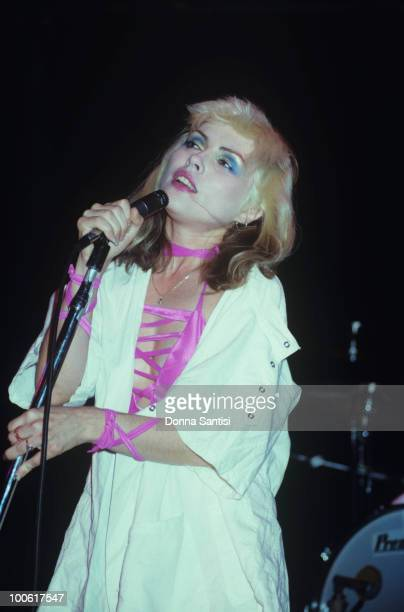 Singer Debbie Harry of Blondie performs on stage in Los Angeles California in 1977