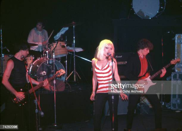 Singer Debbie Harry of the New Wave pop band 'Blondie' performs onstage in April 1977 in Los Angeles California